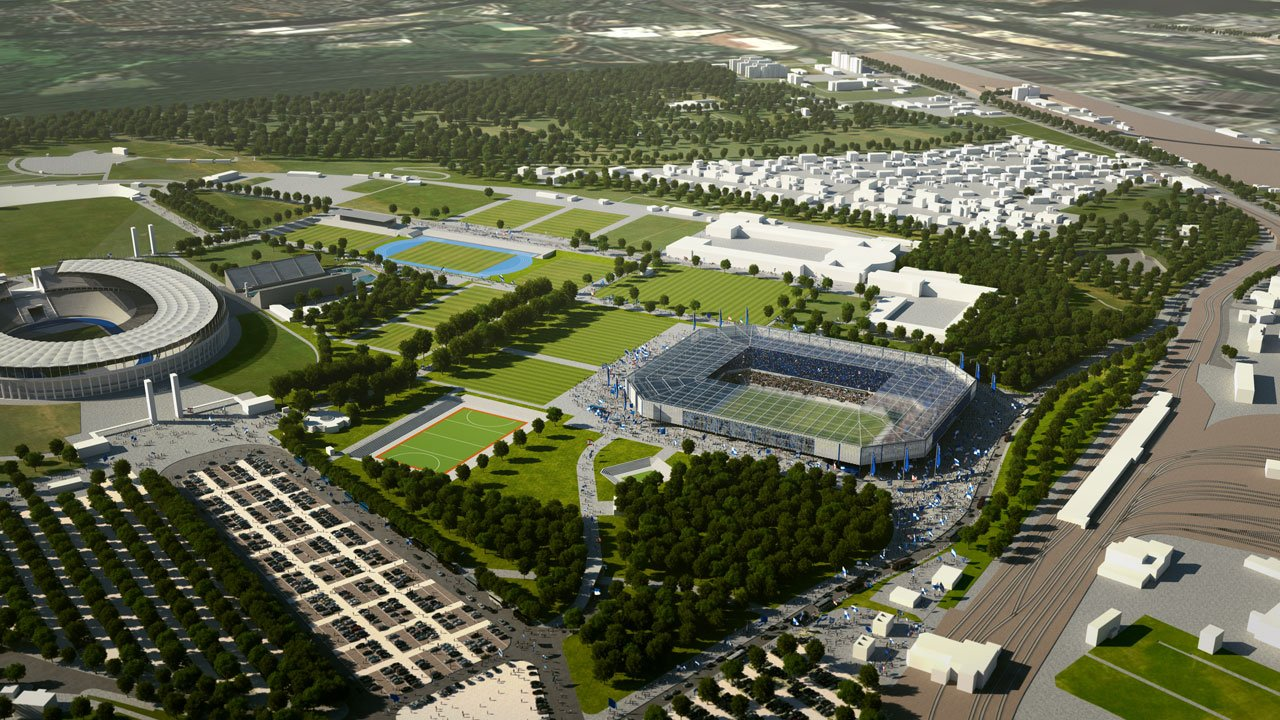 A digital rendering of the Olympiapark with Hertha's own stadium
