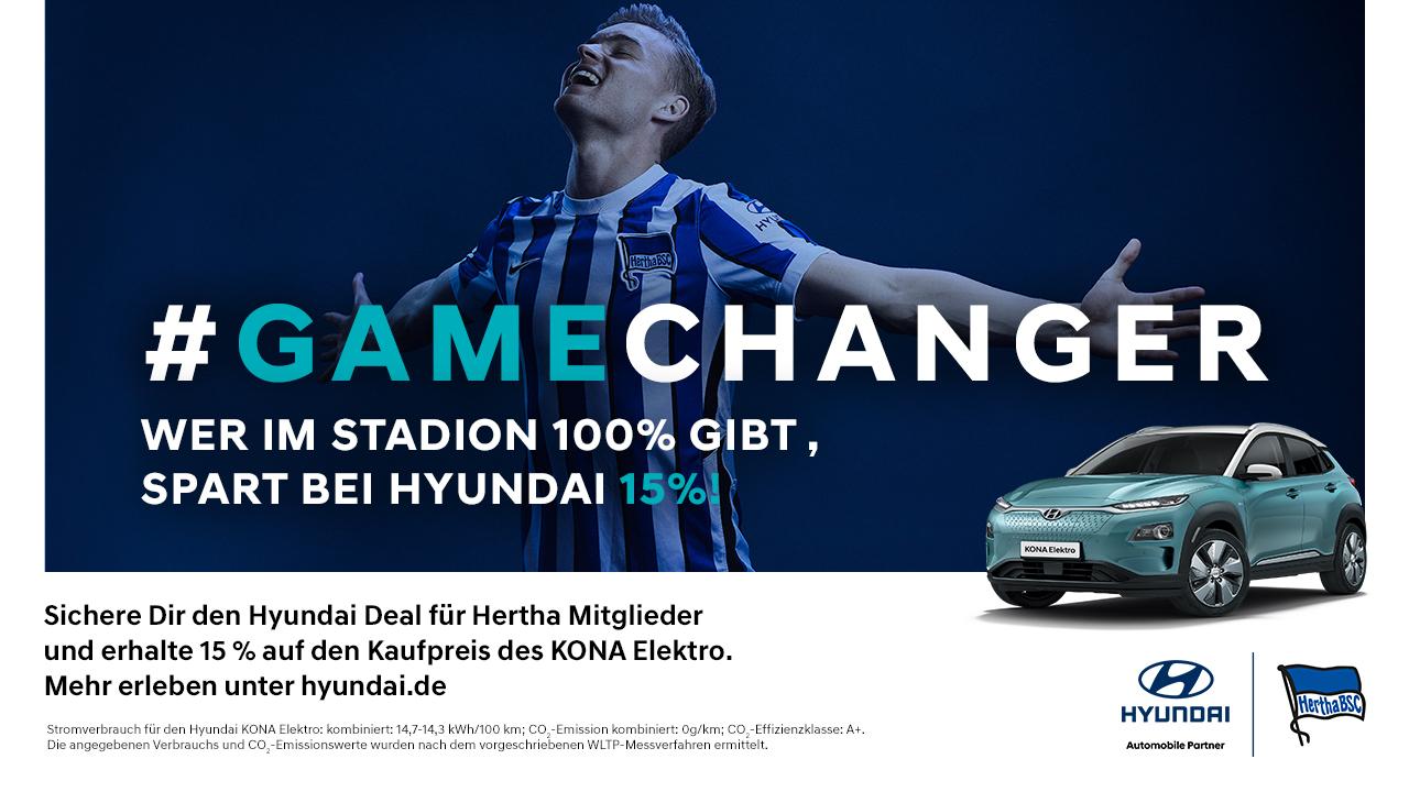 #Gamechanger - Hyundai gewährt Hertha-Mitgliedern 15 Prozent Rabatt