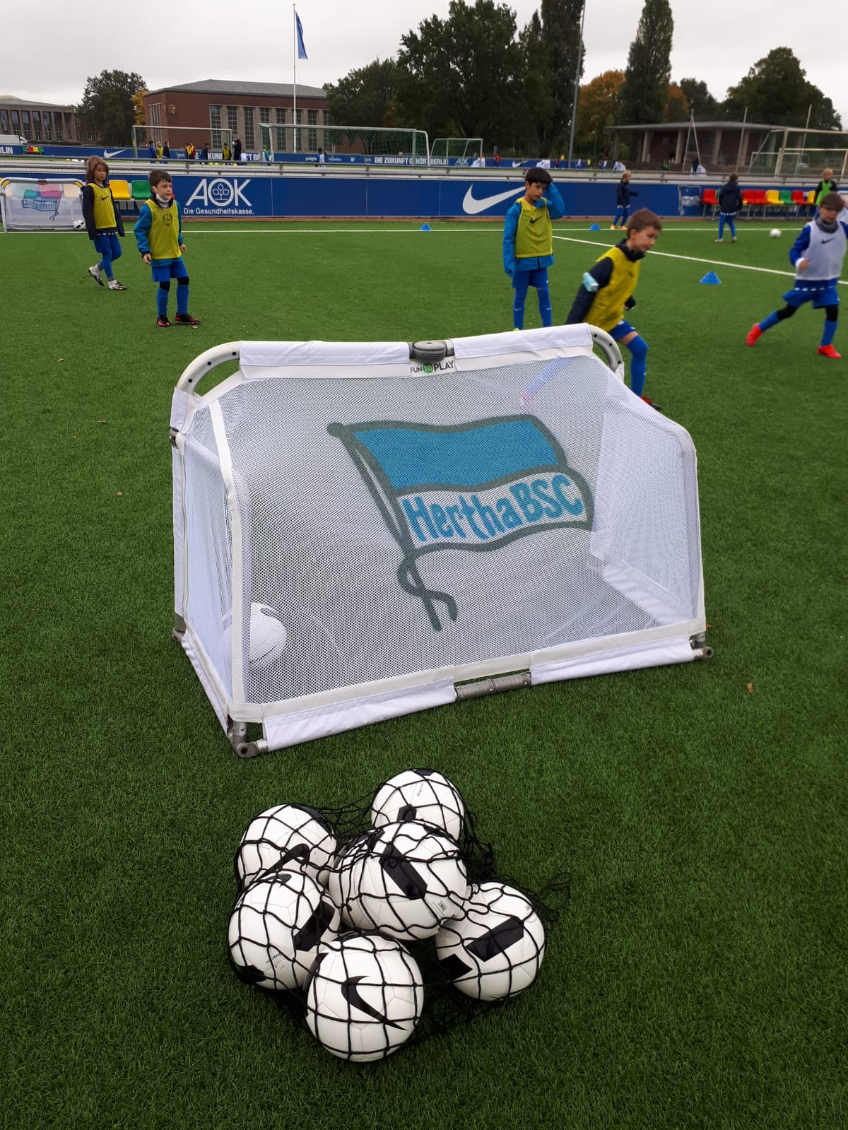 Ein Hertha BSC-Trainingstor auf dem Trainingsplatz.