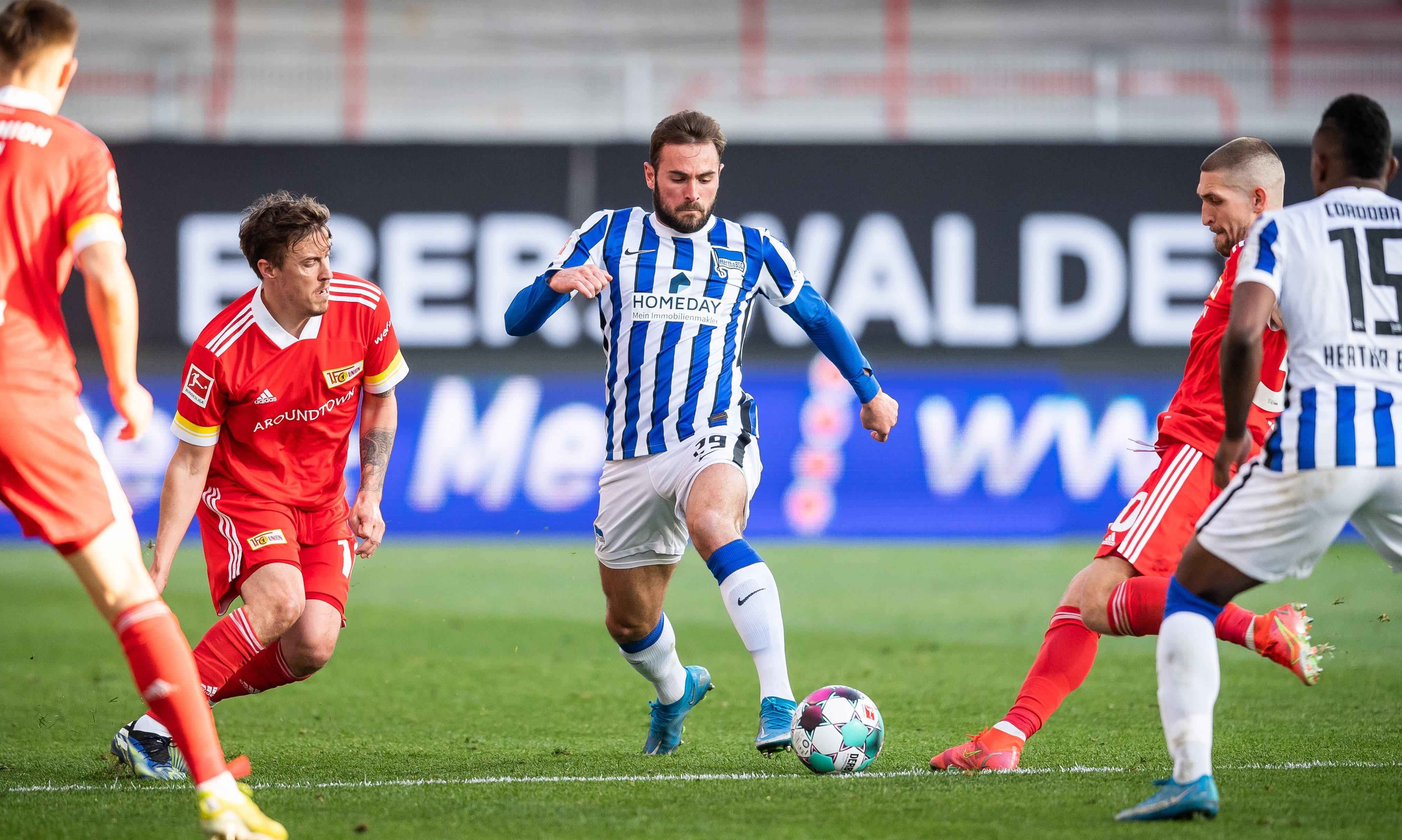 Lucas Tousart en el partido ante el 1. FC Union