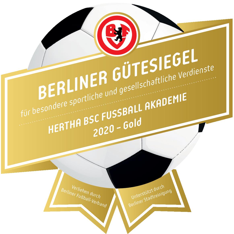 Das BFV-Gütesiegel in Gold für die Hertha BSC Fußball-Akademie.