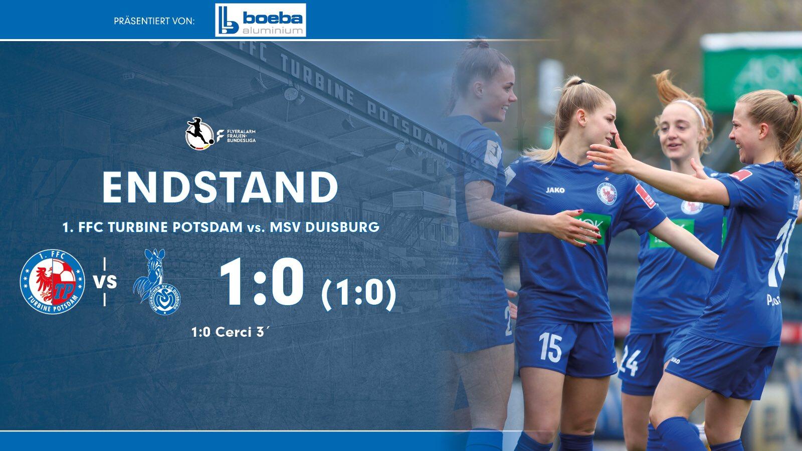 Ergebnis Turbine Potsdam gegen MSV Duisburg
