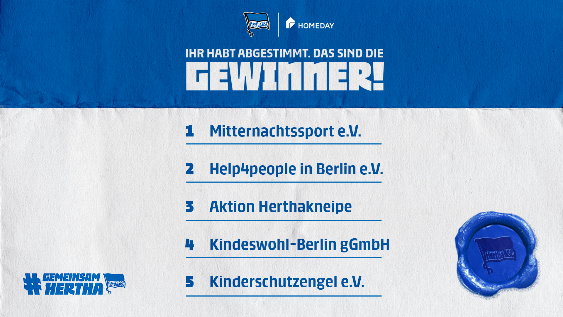 Die Gewinner der Aktion 'Gemeinsam Hertha - für Berlin'