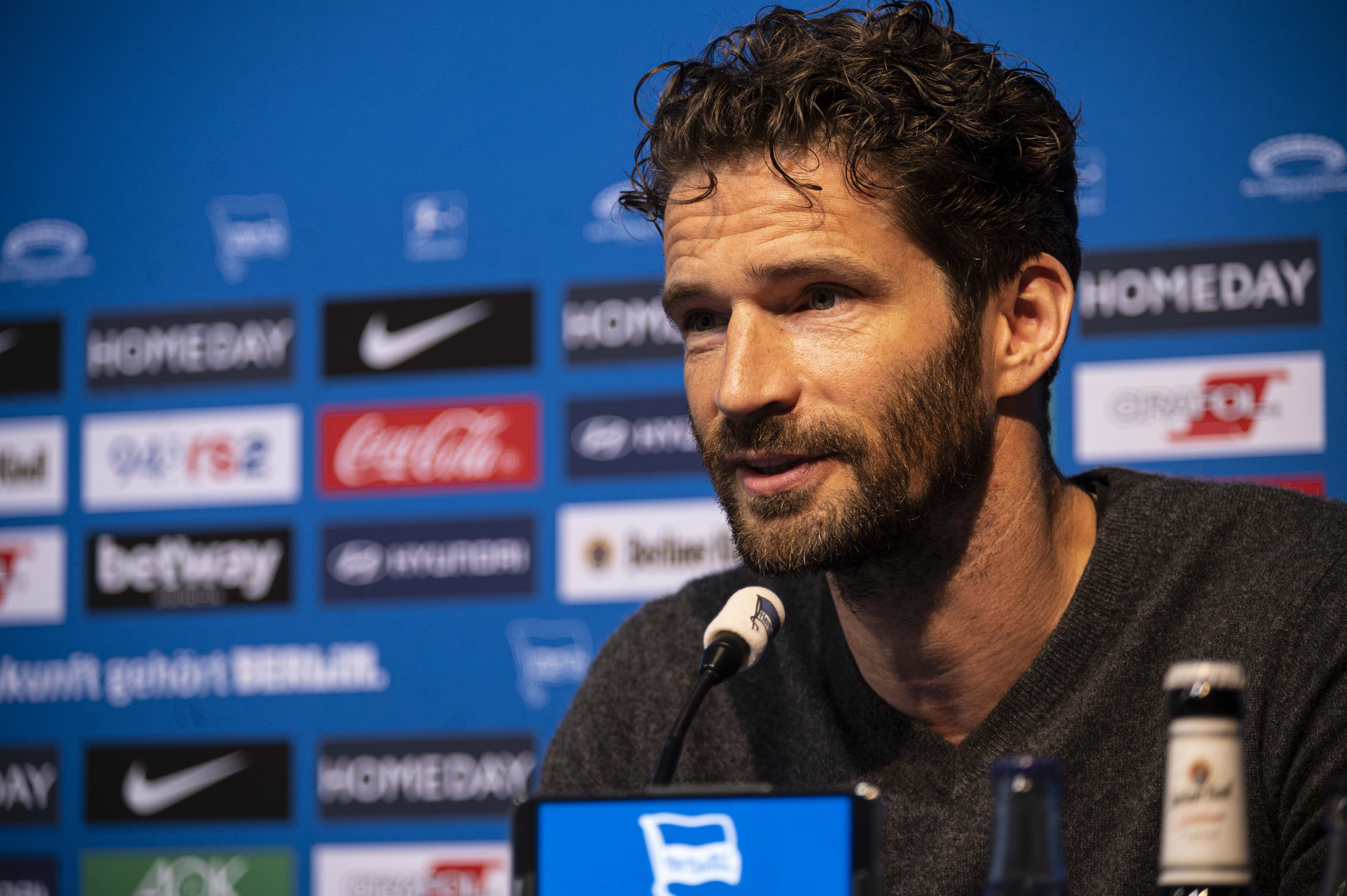 Arne Friedrich at the pre-match press conference