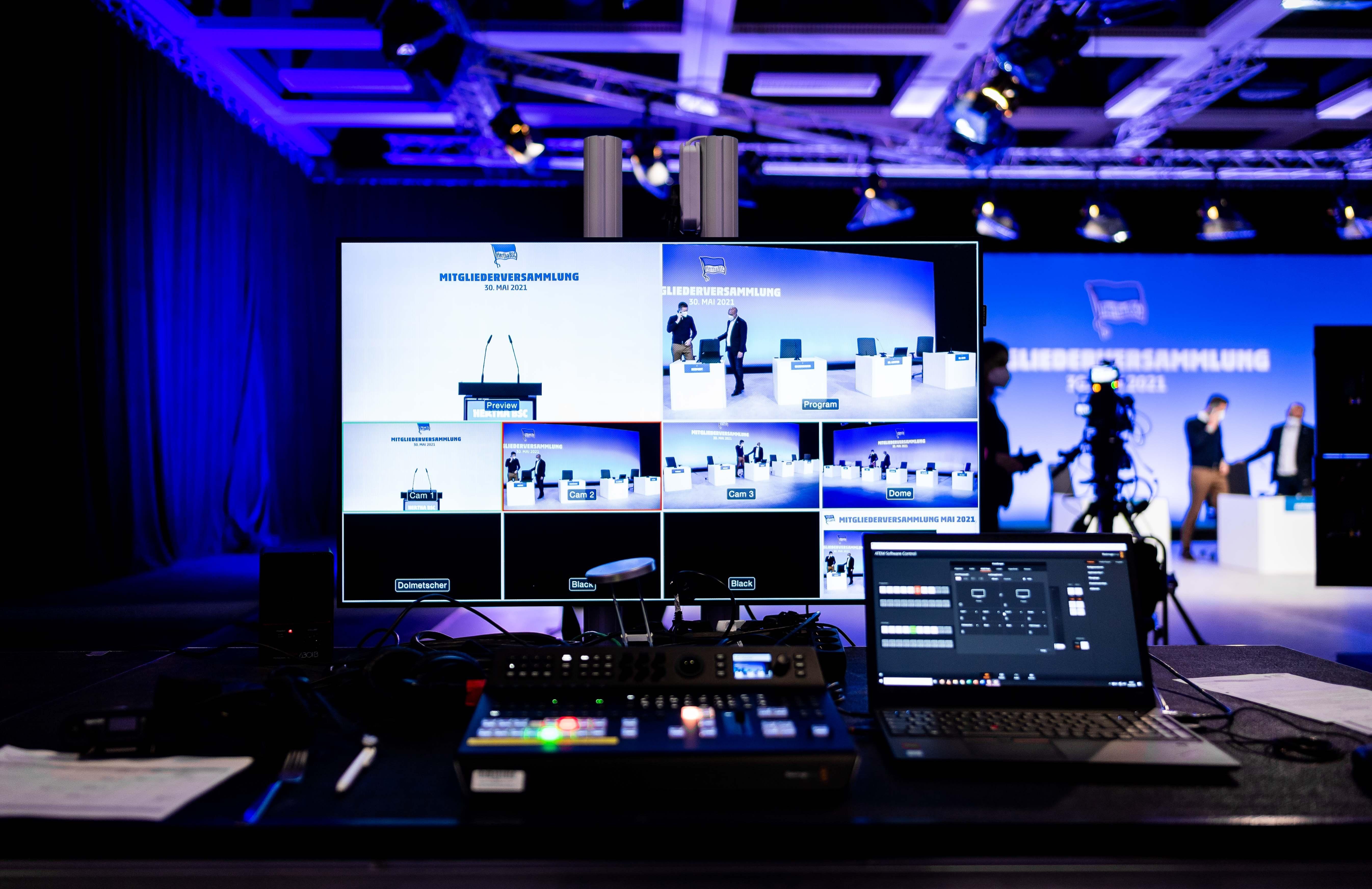 Der Aufbau für die digitale Mitgliederversammlung 2021.