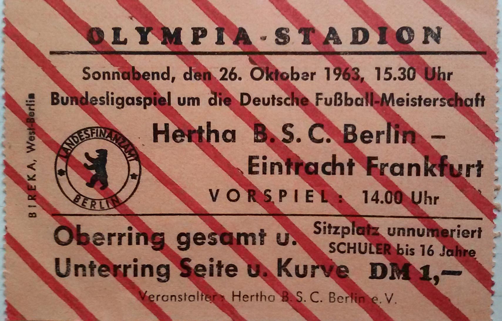 Ein Ticket aus der Premierensaison der Bundesliga 1963/64.