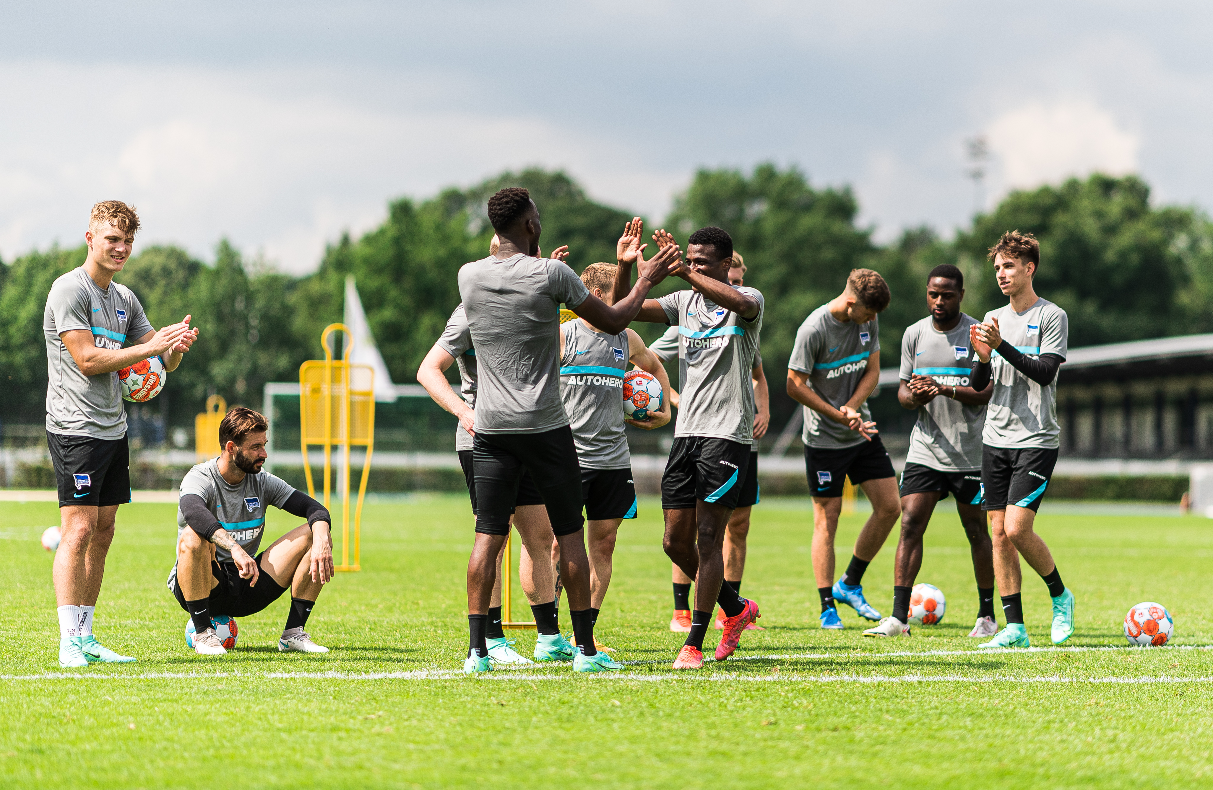 The lads complete another tough training session.