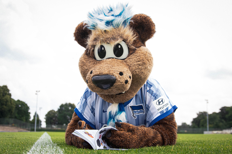 Herthinho liegt auf dem Rasen und liest ein Buch.