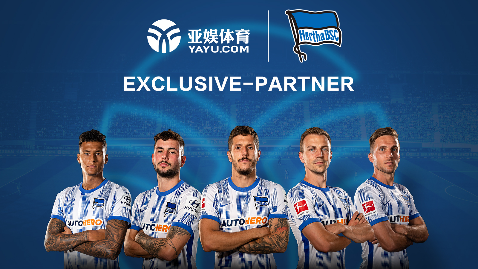 A graphic announcing the partnership between Yayu Sports and Hertha BSC