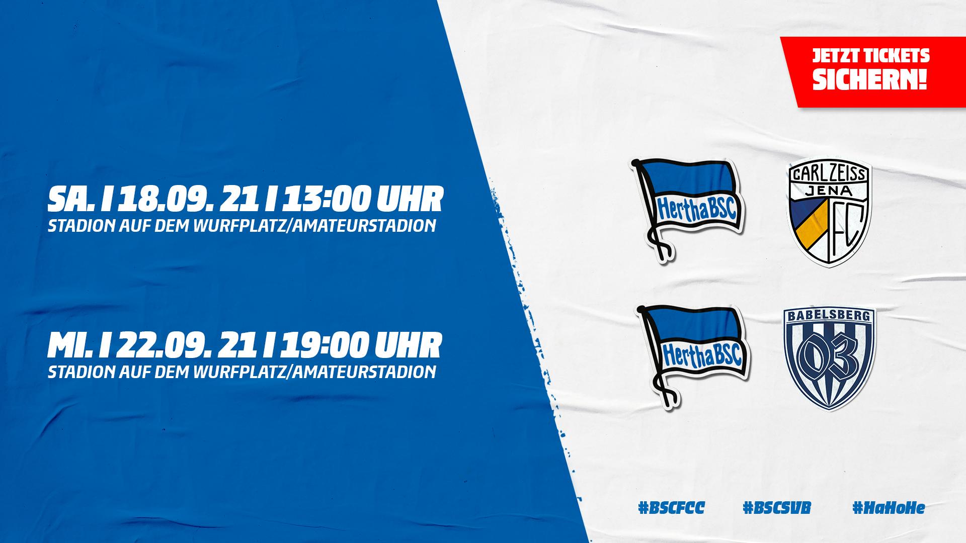Ticketgrafik Hertha BSC U23 gegen FC Carl Zeiss Jena und Hertha BSC U23 gegen SV Babelsberg 03.