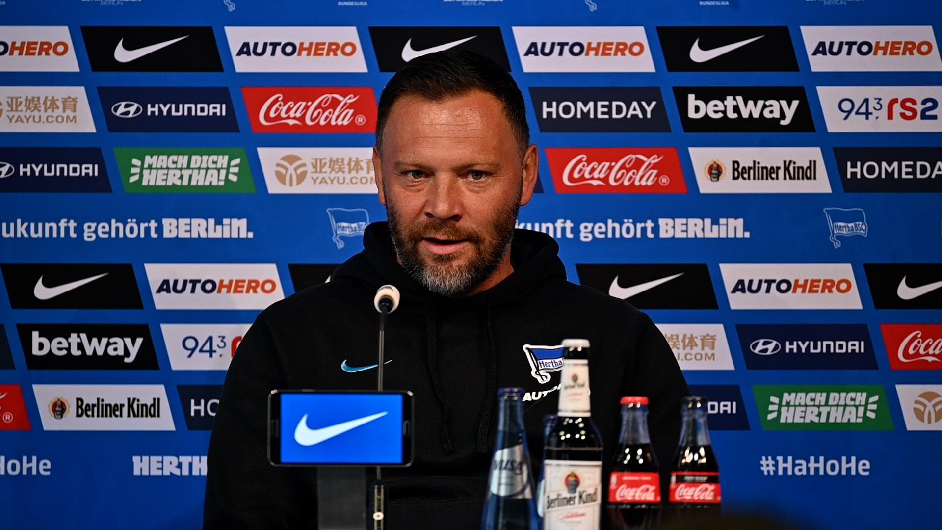 Pál Dárdai during a press conference.